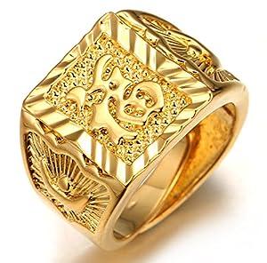 Halukakah ● Gold Segen Alle ● Männlich In 18 Karat Vergoldetete überzogen Kanji Ring REICH/GLÜCK/REICHTUM Set Größe Verstellbar mit Kostenloser Geschekpackung