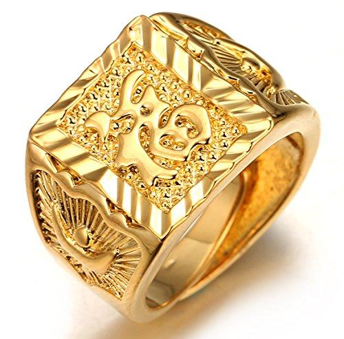 Halukakah ● Oro Bendiga Todo ● Hombres Anillo Chapado en 18K Oro Real Suerte Tamaño Ajustable con CajaDeRegaloGRATIS