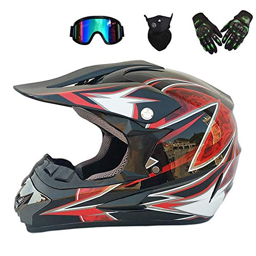 Motocross Helmets, Downhill Helmets with Gloves and Masks, Full-face Motorcycle Adult Motorcycle Helmet Kits and Protective Helmets D.O.T Certified,M