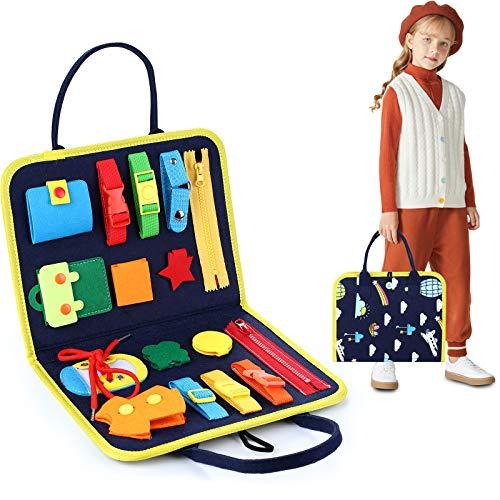 FBve Tabla de juguetes Montessori para niños pequeños, tabla de habilidades básicas para aprender vestido, juguetes educativos de aprendizaje, bolsa diseñada para iluminar juguetes para bebés, niños y niñas