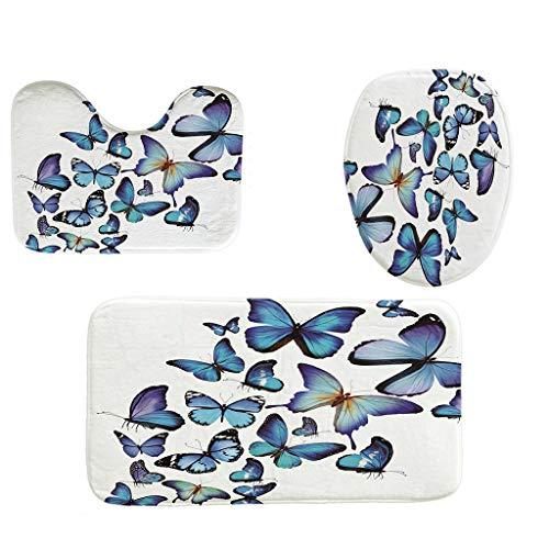 Iusun Bathroom Rug Set,3PCS Lip Butterfly Pattern Printing Series Non-Slip...