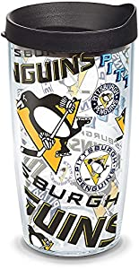 Tervis 1272270 NHL Pittsburgh Penguins All Over Tumbler with Wrap and Black Lid 16oz, Clear