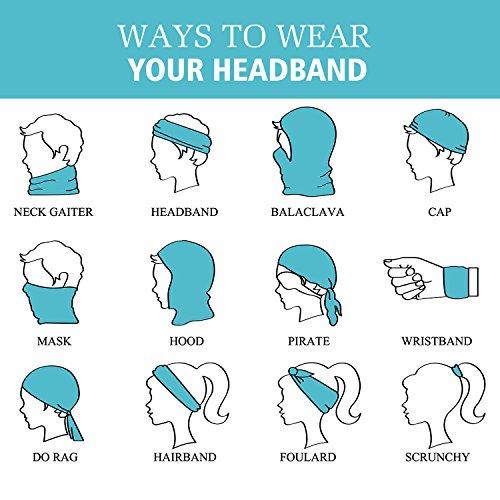 MoKo Multifunktionstuch Stirnband Headband für Damen und Herrn – Mode Nahtlos Schweißband Kopftuch Schlauchschal Halstuch Haarband Totenkopf für Fahrrad, Sport, Laufen, Yoga, Boho Lila - 2