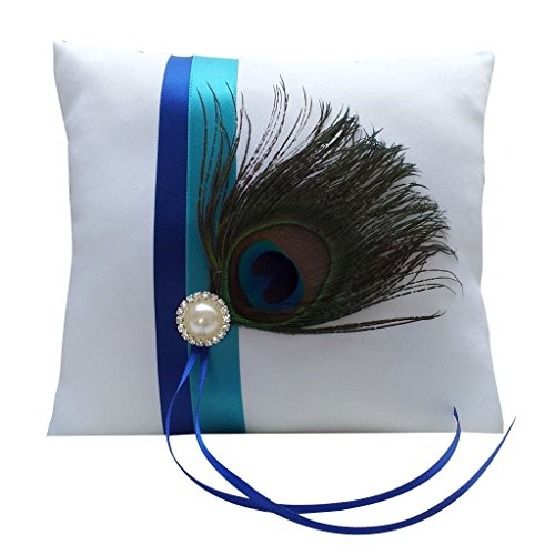 Great Chance Rhinestone Pearl Peacock Feather Wedding Ring Bearer Pillow Cushion