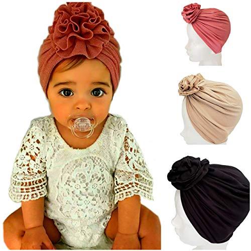 3 Gorritos turbante para bebe niña Gorro HECHO A MANO (Rosa, Beige, Negro) Diademas