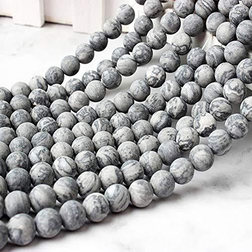 Gendaje Moda Natural Gris Mate Pulido Mapa Piedra Suelta Cuentas 6 8 10 12 Mm DIY Hombres y Mujeres Pulsera Collar joyería Gray Map 6mm 63beads