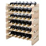 Smartxchoices 36 Bottle Stackable Modular Wine Rack Small Wine Storage Rack Free Standing Solid Natural Wood Wine Holder Display Shelves, Wobble-Free (Six-Tier, 36 Bottle Capacity)