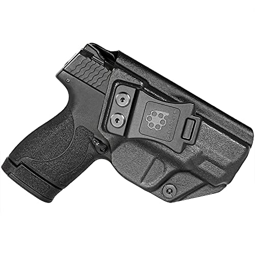 Amberide IWB KYDEX Holster Fit: Smith & Wesson M&P Shield Plus / M2.0 / M1.0 - 9mm/.40 S&W - 3.1' Barrel Pistol | Inside Waistband | Adjustable Cant | US KYDEX Made (Black, Right Hand Draw (IWB))