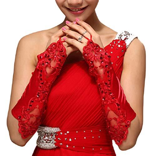 Tinaa Hochzeit Handschuhe Weiß BrauthandschuheSpitze Fingerlos Für Hochzeitsgesellschaft (Rot)