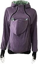 Women's Maternity Hoodies Kangaroo Fleece Zipper Up Hooded Sweatshirt for Baby Carriers