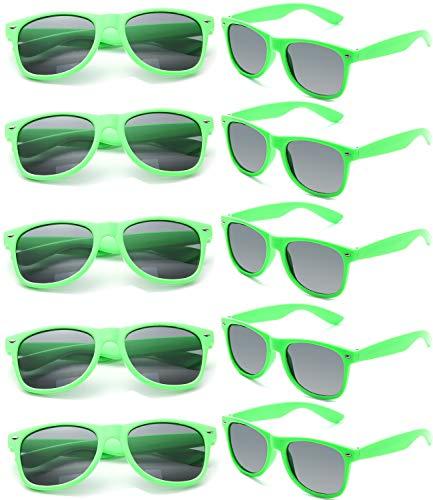FSMILING Großhandel 80er Jahre Neon farbige Vintage Klassisch Party Sonnenbrille für Herren Damen Kinder (10 Stück Grün)