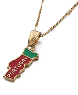 Portugal Map Pendant Necklace Chain Flag Gold Color Jewelry Portuguese PRT