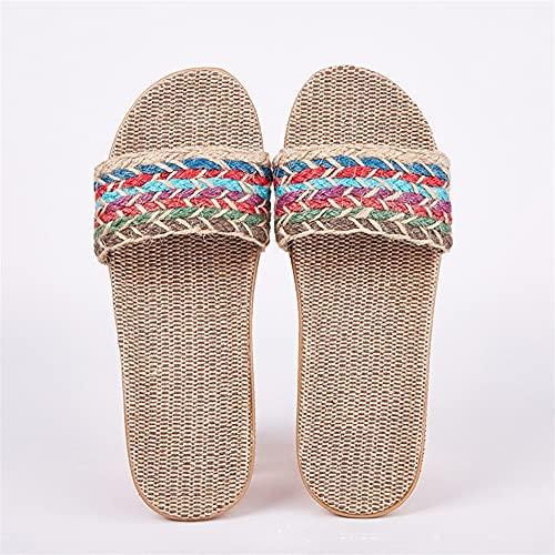 Señoras Hombre Zapatillas De Casa Zapatos De Interior Zapatillas De Lino Casuales Cinturón Zapatillas De Lino Sandalias Con Chanclas Para Mujer (Color : F, Shoe Size : 11)