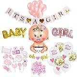 SicurezzaPrima Babyparty Deko Mädchen Set XXL - 48 Teile - Dekoration Baby Shower für Mädels - Luftballons, Girlande, Fotobox, Schnuller, Geschenk - rosa