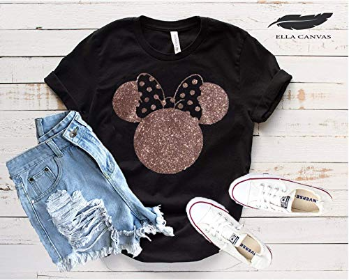 Disney Shirts for Woman, Minnie Mouse Gold Glitter Ears, Disneyland Trip Birthday Outfits, Cute T-shirts
