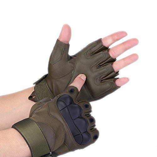 codomoxo® Gants Tactiques de l'armée Militaire des Forces Spéciales en Plein Air Demi-Doigt Unisexe de Mi Saison 1/2 Feu Finger Gym Combat résistant aux Coupures Gants de Fitness en Cuir (Vert, XL)