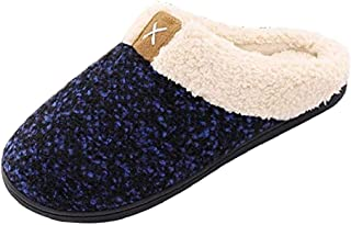 Women's Foam Slippers Warm Indoor Outdoor House Shoes Fleece Anti-Skid Rubber Sole Womens Plush Home Sandals Anti-Slip Winter Women Wool Lined Cotton Fur Furry Slide Flat Soles (Dark Blue,MCN)