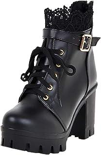 POLP Botines de Tacón impermeables Mujer Zapatos con plataforma de tacón alto con Cordones Botas Cortas Retro Zapatos de T...