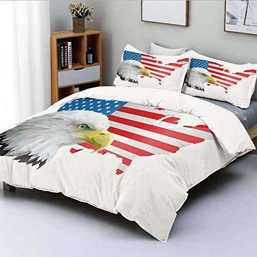 Juego de funda nórdica, perfil de águila con fondo de bandera estadounidense Mapa de caza del país de ensueño Freedom decorativo Juego de cama decorativo de 3 piezas con 2 fundas de almohada, multicol