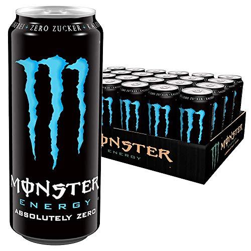 Monster Energy Absolutely Zero, Energie Getränk mit klassischem Monster-Geschmack aber Zero Zucker & Zero Kalorien, Energy Drink Palette, EINWEG Dose (24 x 500 ml)