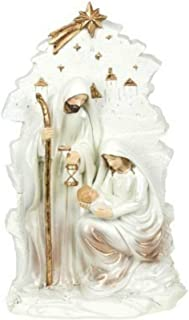 CAPRILO. Figura Decorativa Religiosa de Resina Nacimiento con Estrella. Adornos y Esculturas. Belenes. Decoración Hogar. Regalos Originales. Navidad y Reyes. 24 x 14.5 x 5.5 cm.