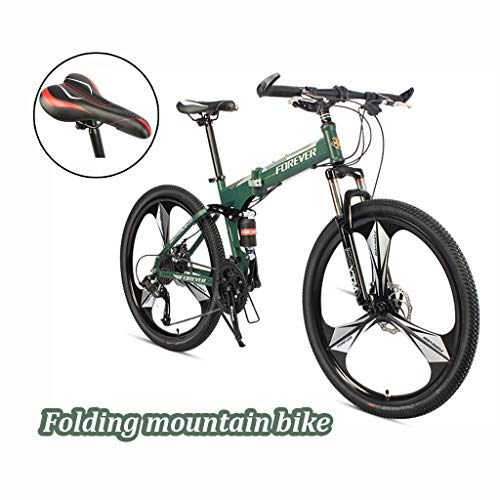 26 Inch Bike,Mountain Bike Full Suspension Mountain Bike, Folding Bikes for Adults, Mountain Bike,Adult Bike,Adult Mountain Bike Adult Student Outdoors (Color : Green, Size : 24-speeds)