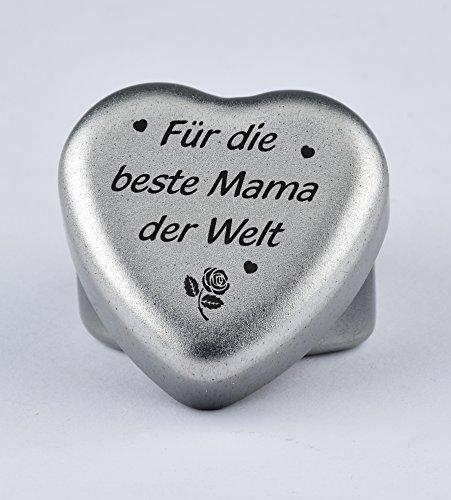 Duftkerze Teelicht Vanille in Herzform mit Gravur Für die Beste Mama der Welt auf dem Deckel als Geschenk zum Muttertag, Geburtstag oder zu Weihnachten
