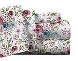Pointehaven Flannel Deep Pocket Set with Oversized Flat Sheet, King, Sylvan