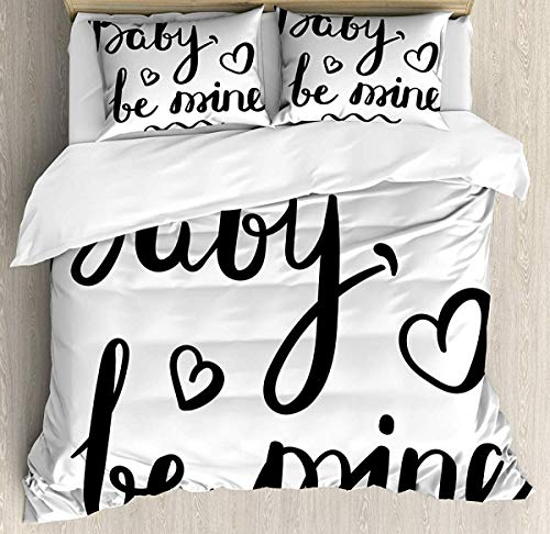 882 Quote Duvet Cover Set King Size, Modern Motivating Hand-Drawn Calligraphy Baby Be Mine Lettering with Heart Icon, Decorative 3 Piece Bedding Set with 2 Pillow Shams, Black and White