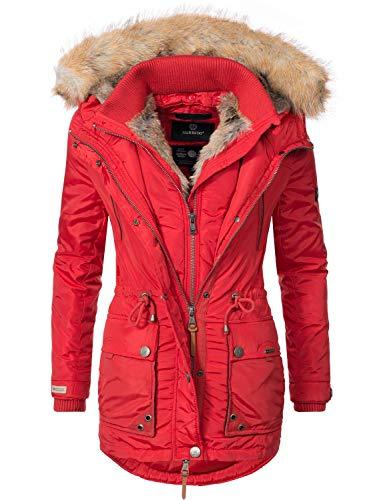 Marikoo Grinsekatze Abrigo de Invierno Parka para Mujer Rojo S