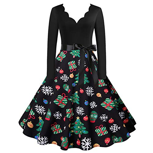 Yowablo cocktailkleid abendkleidung hochzeitskleid Kleid Frauen Vintage Langarm Weihnachten 1950er Jahre Hausfrau Abendparty Prom (XL,16Schwarz)