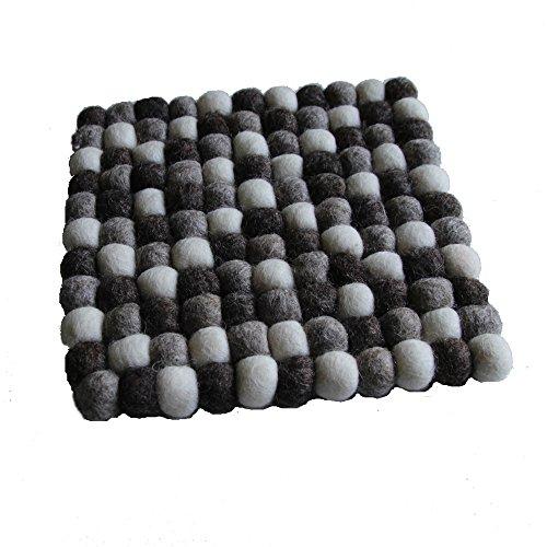 Maharanis Fairtrade Filz Untersetzer Topf Untersetzer kiesel natur hell 22 cm quadratisch handgefertigt aus reiner Wolle, hitzebeständig