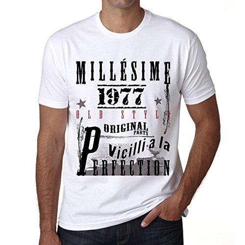 Tee Shirt Homme 1977 Cadeau d'anniversaire 44 Ans,Cadeaux,Anniversaire,Manches Courtes,Blanc,Homme T-Shirt