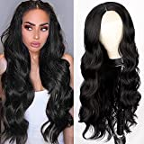 Lativ Long Wavy Wig for Women Black Middle Part Lace Front Wigs Body Wave...