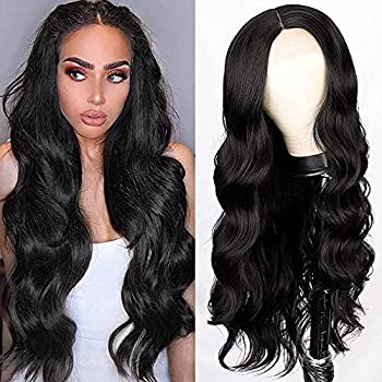 Lativ Long Wavy Wig for Women Black Middle Part Lace Front Wigs Body Wave Synthetic Hair Natural Looking Heat Resistant Fiber Daily Party Cosplay Use  Black