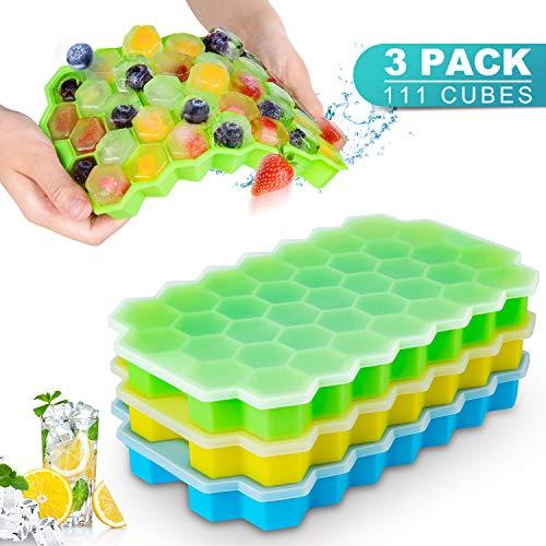 CISHANJIA Eiswürfelbehälter Mit Deckel ,3 Pack BPA-freie Eiswürfelform/Form mit auslaufsicherem abnehmbarem Deckel,am besten für den Gefrierschrank geeignet,für Babynahrung,Whisky