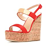 XYD Women Platform Wedge Cork High Heel Sandals Strappy Slingback Open Toe Dress Shoes with Buckle Size 9 Red