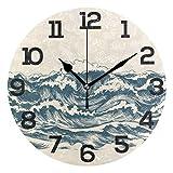 sam-shop Reloj de Pared japonés de la Ola oceánica Japonesa, silencioso, sin tictac, Oficina en casa, Reloj Redondo Decorativo, Arte
