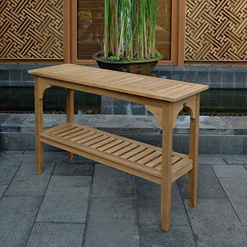Cambridge Casual Solid Teak Wood Auburn Outdoor Console Table, Natural