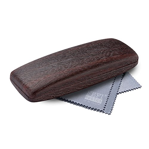 FEFI Hardcase Brillenetui in neuer Holz-Optik - Mit Metallscharnier - Inklusive hochwertigem Brillenputztuch/Mikrofasertuch (Rotbraun)