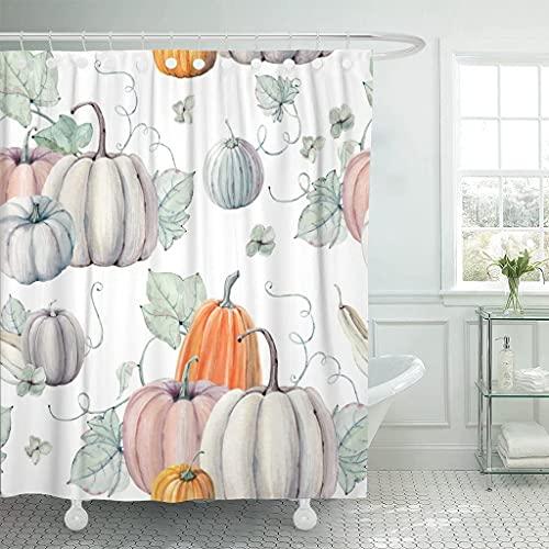 Emvency Duschvorhang, Wasserfarben, Kürbisse, für Thanksgiving, Halloween, Design, Rezept Ernte, wasserdichtes Polyestergewebe, 183 x 183 cm, Set mit Haken