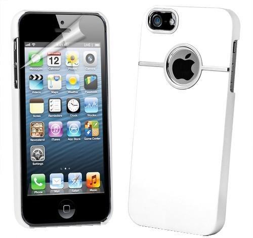 itronik Hülle kompatibel mit iPhone 5 Schutzhülle Hülle Hard-Cover mit Chrome Verzierung - weiss