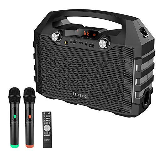 Hotec Wireless Bluetooth Portable PA Speaker System, Powerful Bluetooth Karaoke Machine with Dual Wireless Microphones for Karaoke, Wedding, Party, Teaching, Lecture, Church, Outdoor Indoor Activities
