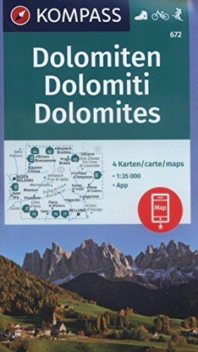 KV WK 672 Dolomiten 35T (4-K-Set): 4 Wanderkarten 1:35000 im Set inklusive Karte zur offline Verwendung in der KOMPASS-App. Fahrradfahren. Skitouren. (KOMPASS-Wanderkarten, Band 672)