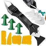 kit di strumenti per presellatura in silicone 3 in 1, raschietto per malta in metallo, applicatore per ugelli per calafatoio, strumento di rimozione in silicone di finitura per bagno finestra
