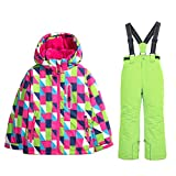 WOWULOVELY Girls Ski Jacket + Pants Snow Insulated Suit Windproof & Waterproof (10, 09 Green)