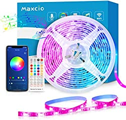 Maxcio taśma LED 20 m, listwa LED z pilotem zdalnego sterowania, kompatybilna z Alexa, Google Home, aplikacją Smart...
