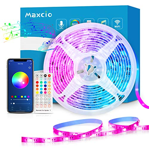 Alexa LED Strip Lichtband 10m, Maxcio Smart RGB Led Streifen mit Fernbedienung, LED Band Lichterkette, Kompatibel mit Alexa, Google Home, Smart Life App, Sync mit Musik für Party, Weihnachten(1x10M)