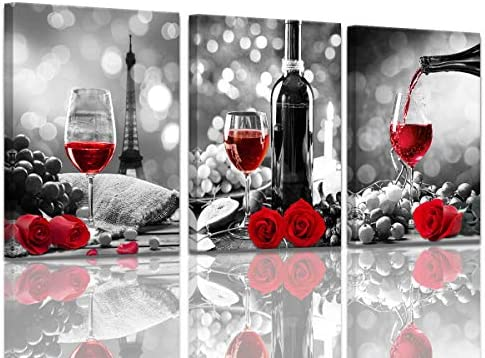 Wine Decor Kitchen Canvas Art Red Wine Rose Artwork for Home Walls Black and White With Red product image