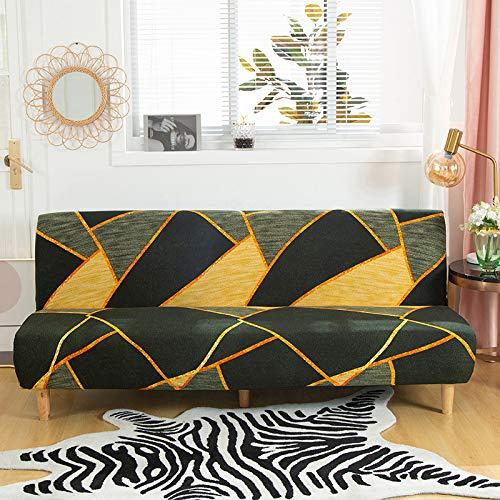 Mingfuxin, copridivano senza braccioli in poliestere e elastam, protezione per divano a 3 posti, elastico, pieghevole, adatto per divano letto pieghevole senza braccioli (stampato #2847)